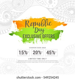 Creative sale banner or sale poster for celebration of Indian Republic Day.