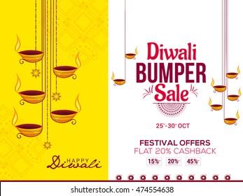 Creative sale banner or sale poster for festival of diwali celebration background.