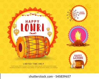 Creative sale banner or sale poster for festival of lohri celebration.