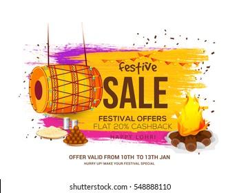 Creative sale banner or sale poster for festival of lohri celebration.