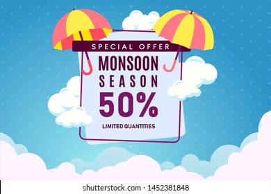Creative Sale Banner Or Sale Poster Of Monsoon Season