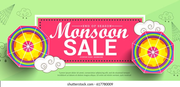 Creative Sale Banner Or Sale Poster Of Monsoon Season With Colorful Umbrella,Text Space Background.