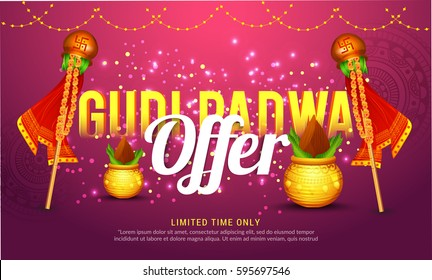 Creative Sale Banner Or Sale Poster For Occasion Of Gudi Padwa Celebration (Lunar New Year) Background.