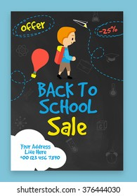 Creative Sale Flyer, Banner or Template design for Back to School concept.