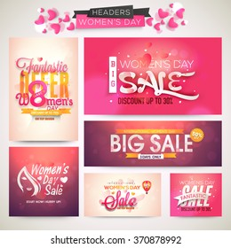 Creative Sale header or banner set with discount offer for Happy Women's Day celebration.