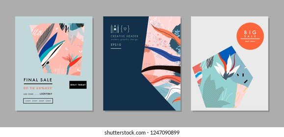 Creative Sale headers or banners with discount offer. Art posters. Design for seasonal  clearance. It can be used in advertising, web design, graphic design.