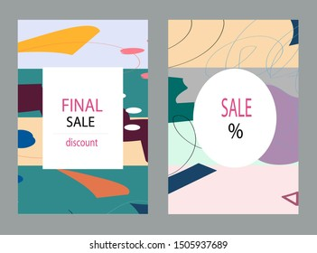 Creative Sale headers or banners with discount offer.Design for seasonal clearance.Art posters