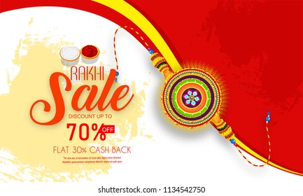 creative sale and promotion banner poster for Raksha Bandhan,  Rakhi, with nice and creative design illustration, Rakhi Offer or Raksha Bandhan Discount Offer.