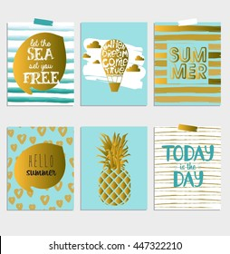 Creative Scandinavian Set of Greeting summer cards, Gift Tags, Stickers and Labels Templates and Typographic. Hand draw card