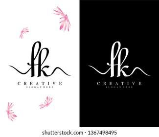 creative script fk/kf letter logo design vector