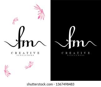 creative script fm/mf letter logo design vector