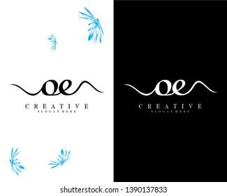 creative script font letter oe/eo logo design template vector
