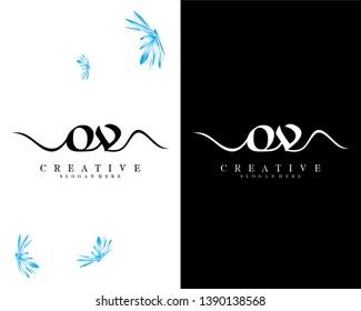 creative script font ov/vo letter logo design template vector