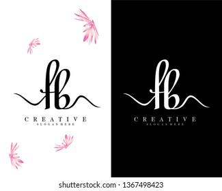 creative script letter fb/bf logo design vector