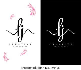 creative script letter fj/jf logo design vector