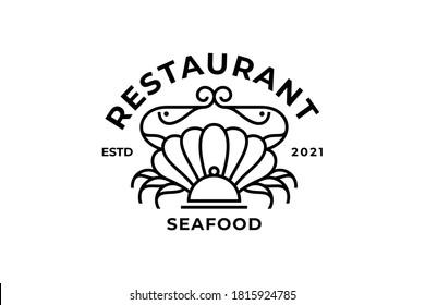 Creative Seafood restaurant stamp logo design template