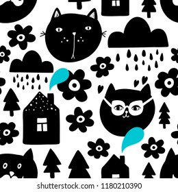 Creative seamless background with black cat heads in scandinavian style. Vector endless design. Hand drawn art in trend.