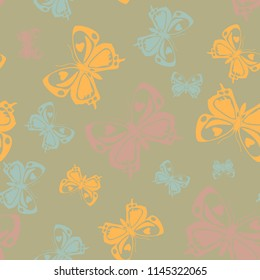 Creative seamless butterfly iterative background isolated on contrast back layer. Spring butterfly repeat theme vector. Wildlife insect fauna backdrop for interior.