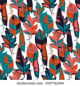 Creative seamless pattern with abstract tropical leaves. Hippie style. Colorful spring or summer background. Trendy botanical swimwear design. Fashion print for textile.