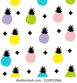 Creative seamless pattern with colorful pineapples in scandinavian style. Hand drawn art in trend.