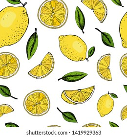 creative seamless pattern with hand drawn lemons on white background. Perfect for product package, wallpaper, wrapping paper, textile and fabric print, stationery, scrapbooking, etc. Summer. EPS 10