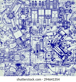 Creative seamless pattern made up of drawings of old motors, on graph paper. Can be used for wallpaper, pattern fills, web page background, surface textures.