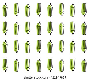 Creative seamless pattern with pencil. artist's and designer's tools. Flat, line design vector illustration. School, education, children theme. Pencil icon. green color
