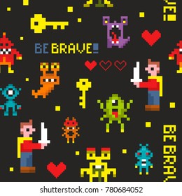 Creative seamless pattern with pixel monsters and brave knights. Vector illustration in pixel style.