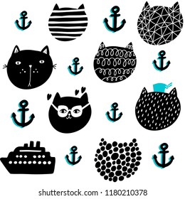 Creative seamless pattern in scandinavian style. Cute cats and sea boat. Hand drawn art in trend.