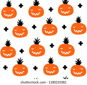Creative seamless pattern in scandinavian style with halloween pumpkins. Hand drawn art in trend for decoration.