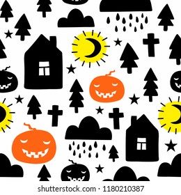 Creative seamless pattern in scandinavian style with night landscape. Hand drawn art in trend for Halloween party.