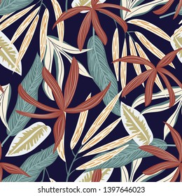 Creative seamless pattern with tropical plants on dark background. Vector design. Flat jungle print. Floral background.