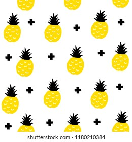 Creative seamless pattern with yellow pineapples in scandinavian style. Hand drawn art in trend.