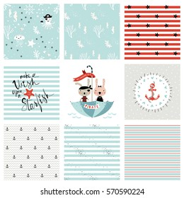 Creative seamless patterns and prints set. Pirate and marine design. For fashion kid's wear, T-shirts, posters, cards, scrapbooking, birthday and party invitations. Vector illustration.