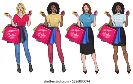 Creative Set of cheerful smiling girls with shopping bags. Surprised pretty females holding bunch of shopping bags in one hand and smartphone in the other. Vector illustration in Pop Art style.