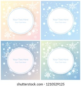 Creative set of christmas shyning backgrounds with snowflakes and magic lights , New year sale broshure and template in many colors