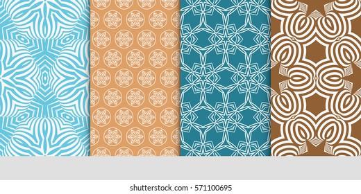 creative set of decorative geometric line pattern. linear floral seamless ornament. vector illustration. for design, wallpaper, fabric, invitation, brochure