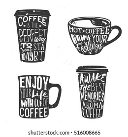 Creative set of lettering in coffee cup. Vector illustration used for poster, card or banner.
