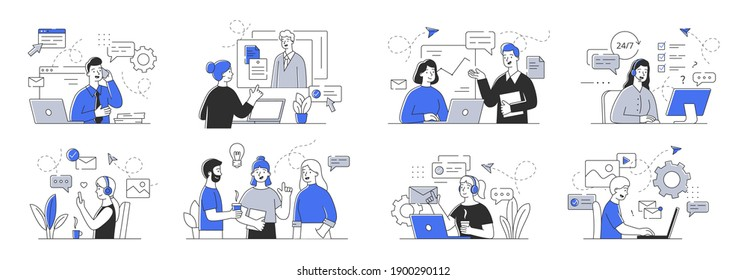 Creative set of outline vector illustrations depicting business people communicating with each other and customers. Simple style vector illustrations isolated on white background, - Shutterstock ID 1900290112