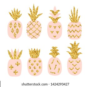 Creative set of pink pineaooles with gold glitter texture. Scandinavian stylish printable with hand drawn geometric pineapple. Vector illustration