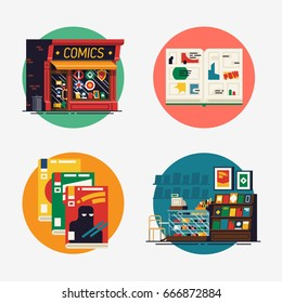 Creative set of vector flat icons on comic books shop with store building, interior, opened graphic novel spread and abstract magazine covers