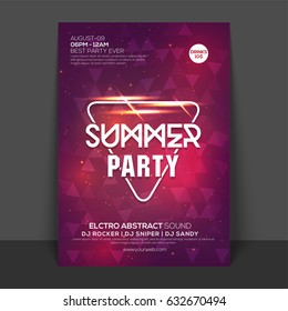Creative shiny Flyer, Template or Banner design for Summer Party celebration.