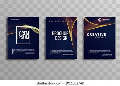 Creative shiny wave brochure flyer design illustration