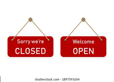 Creative signs - a sign or plaque on the store door with the message: Sorry, we are closed and welcome, open. Art design concept vector illustrations.