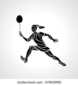 Creative silhouette of abstract female badminton player