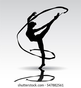 Creative silhouette of gymnastic girl.