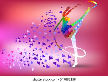Creative silhouette of gymnastic girl. Art gymnastics with ribbon, colorful vector illustration with background or banner template in trendy abstract colorful polygon style