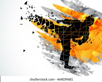 Creative silhouette of Judo Karate Fighter on abstract background for Sports concept.