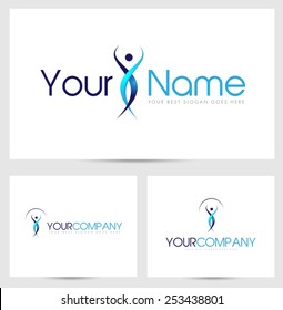 Creative Silhouette Logo. Creative abstract silhouette of a man and company name text.