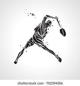 Creative silhouette of professional Badminton player doing smash shot.